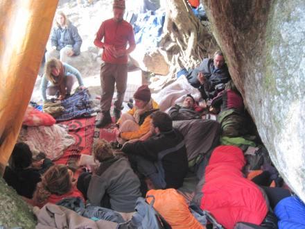 Under the tarp sleeping area