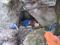 Our mats and blankets piled into the famous cave