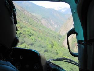 Flying down the Langtang valley