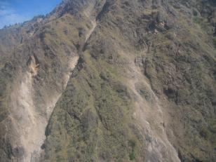 Evidence of recent landslides