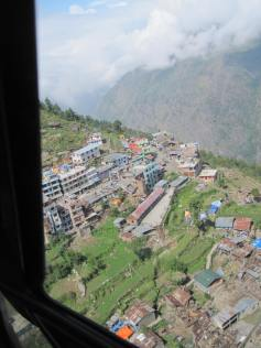 Looking over the hillside town of Dhunche. Some damage apparent