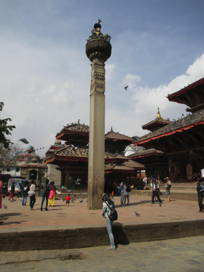 The column with the statue of King Pratap Malla on top