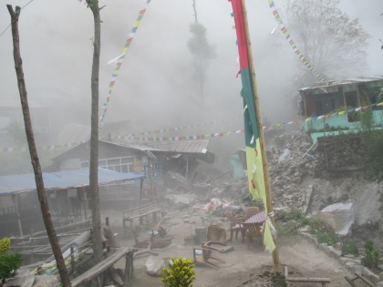 Looking south at the teahouses immediately after the quake. Compare to the last picture on the previous post