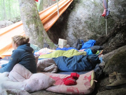Some people also had brought sleeping bags
