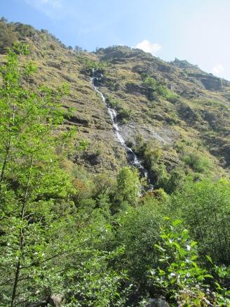 The nice waterfall across the canyon