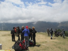 Other trekkers awaiting potential rides to Kathmandu