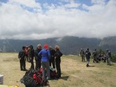 Other trekkers awaiting potential rides to Kathmandu