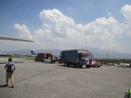 Relief trucks on the tarmac