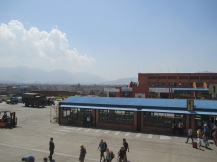 Kathmandu terminal with the city behind