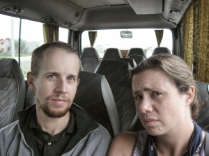 Confused on our private bus from the Hanoi airport