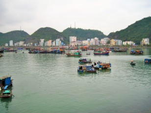 Looking back at the main strip of Cat Ba town