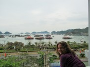 The view of Cat Ba harbor from our balcony