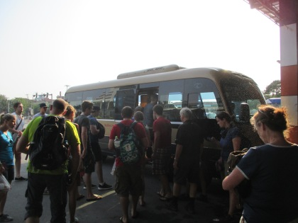 Getting on our special minibus after a rest stop