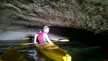 Riding into a cave