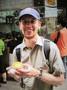 Eric with an egg tart