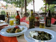 Stuffed peppers and grape leaves in Mostar