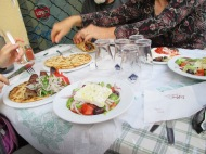 gyros, souvlaki, and greek salad in Athens