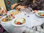 gyros, souvlaki, and greek salad in Athens
