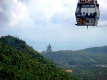 The Big Buddha comes into view on the cable car