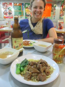 Dinner at a small noodle place a block away from Temple Street Night Market