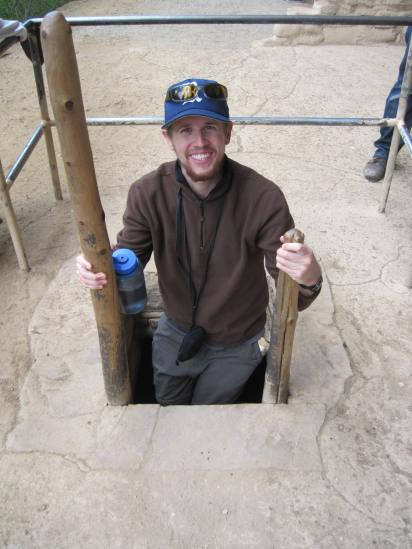 Eric heading down into a recreated Kiva at the Spruce Tree House