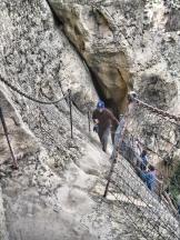 Climbing up an ancient stone ladder (with modern reinforcements)