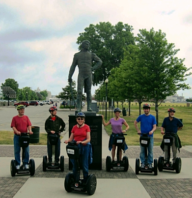 Group shot with the statue of Zachary Taylor, commander of Fort Howard for several years prior to being president