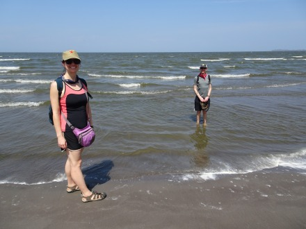 Dipping our toes in Lake Nicaragua