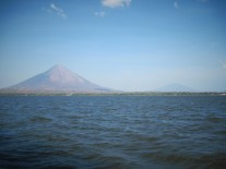 View of Ometepe from the ferry. Volcan Concepcion on the left; Volcan Maderas on the right