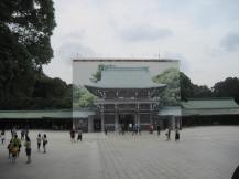 One of the main gates covered with a picture of itself while under renovation