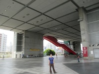 To get to the museum itself, you take the red escalator up to the upper floors