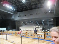The exhibits are housed in a large multi-story open space