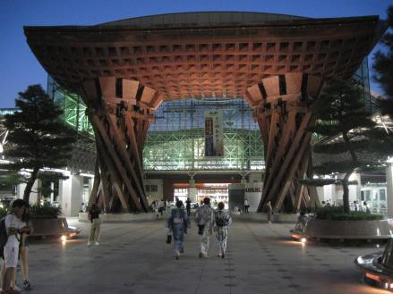 The Kanazawa Train Station has a very pretty stylized torii gate at the entrance