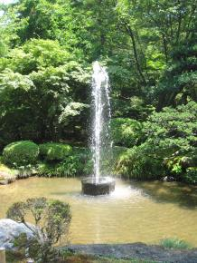 The fountain which is powered by the gravity of water descending from the pond