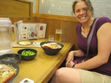 Della with her ramen and some edamame