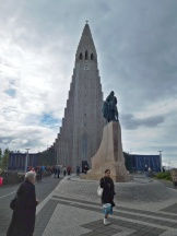 A statue of famous Icelandic explorer Leif Erikson stands out front. The statue was given to Iceland by the US