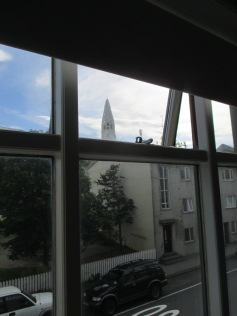 The view out our window of Hallgrímskirkja, described below