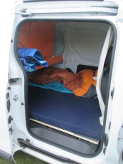 From later on in the trip - our sleeping area from the side door