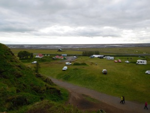 Overhead view of the campground, with our campervan visible