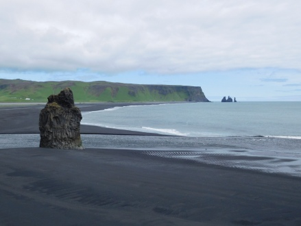 Reynisfjara beach, our next stop, in the distance