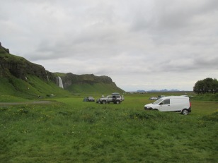 Seljalandsfoss in the distance, our campervan to the right