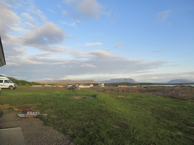 View of Mývatn attractions from the campground: Reykjahlíð, Lake Mývatn, Hverfjall crater
