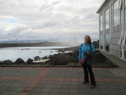 Lake Myvatn in the distance. The bathers you see are in the cooler area where we spent our time
