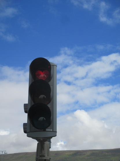 In Akureyri, the red lights are shaped like hearts