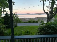 view from porch during sunset